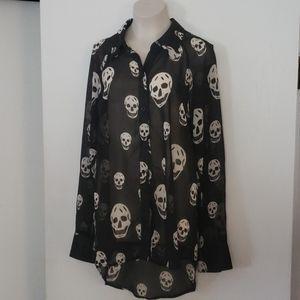 i.ner sheer black/ white blouse